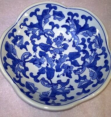 """Blue And White 9"""" Fluted Bowl"""