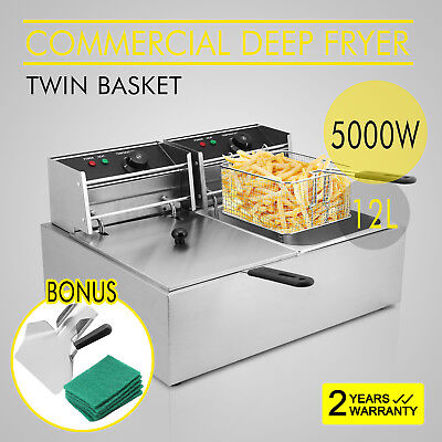 Commercial 20L Stainless Steel Electric Deep Fryer Basket Twin  Tank Fat Chip