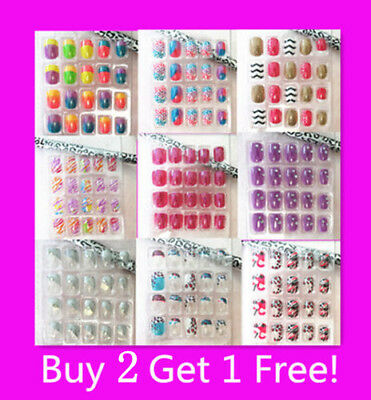 New 20/24 pc Design Girls Acrylic False Fake Nail Tips with Press-on Glue