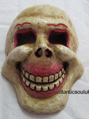 M406 Hand Crafted decorative WOODEN gift wall hanging Off White Skull MASK NEPAL