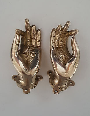"Vitarka Mudra Buddha Hands Brass Door Handle 3.5"" - Nepal"
