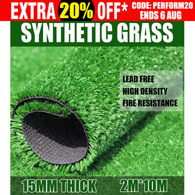 20 SQM Artificial Grass Synthetic Turf Plastic Plant Fake Lawn Flooring 15MM