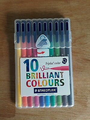 Staedtler Triplus  10 Assorted Colour Fibre Tip Pens In Desktop Box - 323 SB10.