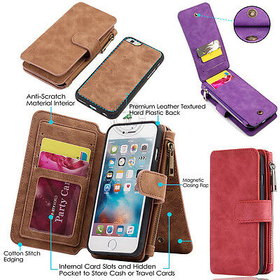 AU New Retro Wallet Leather Zipper Magnetic Removable Flip Cover Card Slots Case