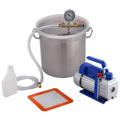 Pro 5 Gallon Vacuum Chamber and 3 CFM Single Stage Pump Degassing Silicone Kit