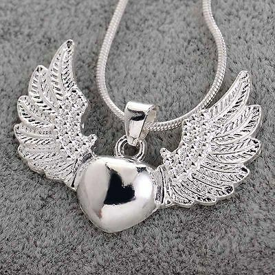 Fashion 925 Silver Heart Angel Wing Charm Pendant Necklace Women Men Chain
