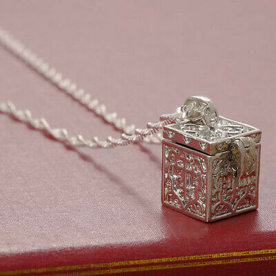 925  Silver Love Cube Necklace Pendant with Chain Fashion Jewelry Women Men
