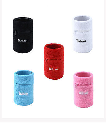 Sports Basketball Unisex Zipper Sweatband Wristband Cotton Pocket Wrist Band