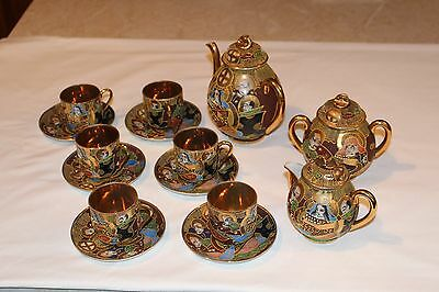 Japanese  Samurai  Antique    15 piece gold lined china tea set   circa 1910