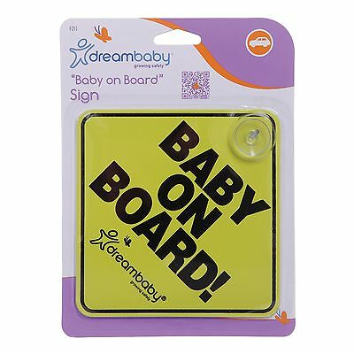 2x Dreambaby BABY ON BOARD SAFETY SIGN Attaches To Windscreen YELLOW *Aust Brand