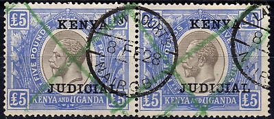 KUT 1922 £5 Black & Blue SG99 Fine Used Pair Fiscal Cancel