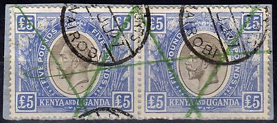 KUT 1922 5 Black & Blue SG99 Fine Used Pair Fiscal Cancel on small piece