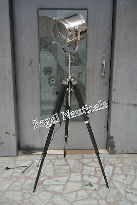 Antique Electric LED Photographers Spot Searchlight Antique Floor Lamp Wooden