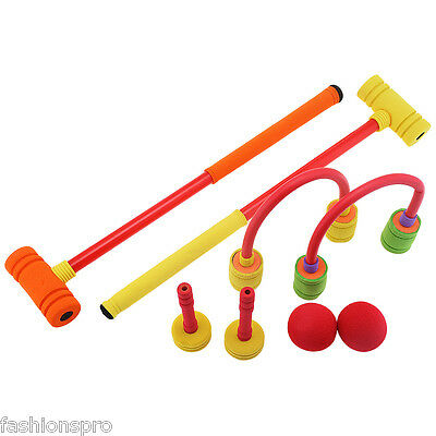 WTWY Kids Colorful Foam Croquet Set Outdoor Sports Game Colormix