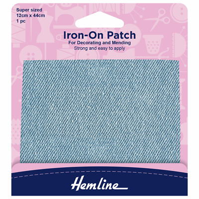 Hemline Cotton Twill Patches Light Denim 10 x 15cm  Strong and easy to apply