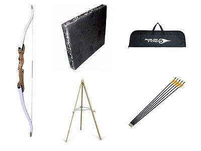 "Traditional 66"" Beginners Archery Adult Recurve Bow Set Kit with Target & Arrows"