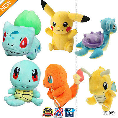 4PCS Pokemon Plush Toys Pikachu Bulbasaur Squirtle Charmander Action Set TG027