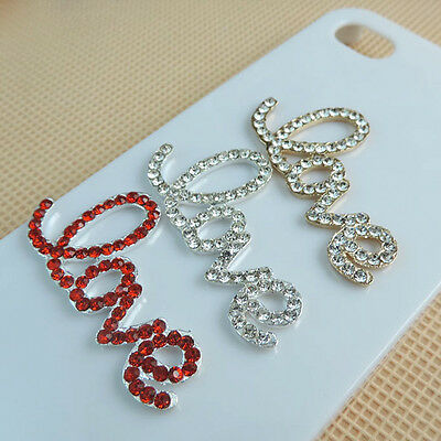 Luxury 3D Diamond Rhinestone Bling Love Letters Decal Sticker Button For Phone