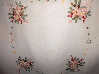 Vintage embroidered supper TABLECLOTH white cotton 78cm square made in Germany