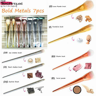 Real Techniques 7 Pcs Of Bold Metal Makeup Brushes Collection New