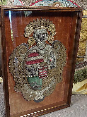 C 1680 English Embroidered Coat of Arms Heraldic Armorial StumpWork Metallic