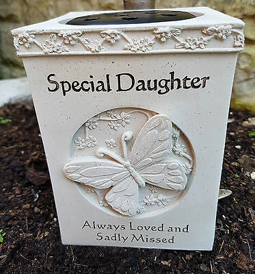 Graveside Memorial GRAVE VASE Flower Rose Bowl with Butterfly SPECIAL DAUGHTER