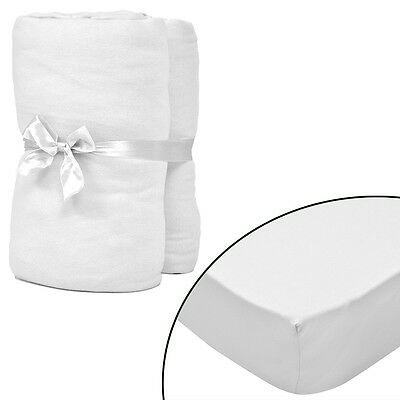 New 2 pcs White Fitted Sheet for Mattress 120 x 200 - 130 x 200 cm Cotton Jersey