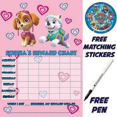 Paw Patrol pink Skye Reward Chart personalised free Stickers, pen MAGNETIC