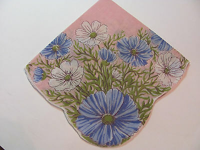 Vintage Blue White Cosmos Flowers Pink Background Cotton Scalloped Hankie 13.5""