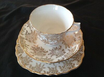 Vintage Lovely ROYAL VALE~*Gold Chintz Floral*~TRIO-Cup Saucer & Tea Plate-1950s