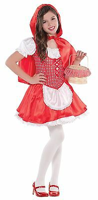 Girls Little Red Riding Hood Fairytale Fancy Dress Costume Kids Book Day Outfit
