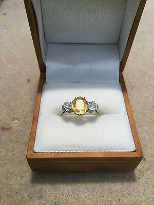 Antique Yellow Sapphire And Diamond Ring