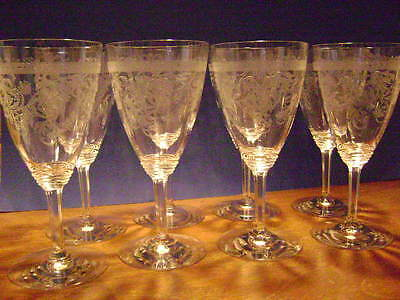 Set Of 8 Frontenac Etch Water Goblets