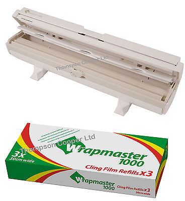 "Wrapmaster 1000 Dispenser 12"" Plus x 3 Rolls of Clingfilm 30m Kitchen domestic"