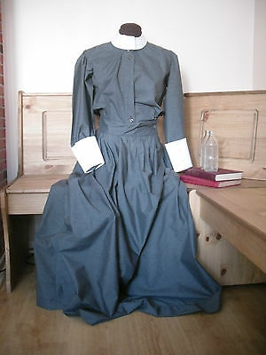 Ww1 Ww2 Nurse Uniform Grey Dress - White Collar And Cuffs Cotton Choose Size