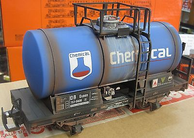 G Scale Blue 4 Wheel Chemical Tank Wagon - Hand Weathered