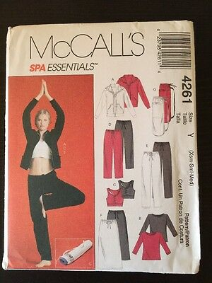 McCall's Sewing Pattern 4261 Ladies Spa Essentials Yoga Workout Sizes XS S M New