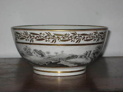 Antique Coalport Porcelain Ornately Gilded & Hand Painted Panoramic View Bowl