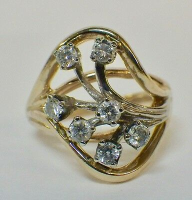 Estate Vintage 14K Yellow & White Gold Unique Diamond Cluster Ring .56ctw