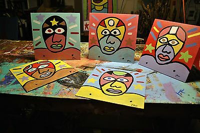 Lot 5 Mexican Lucha Libre Wrestler Paintings by  Texas Folk Artist Paco Felici