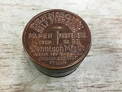 Vintage Brass Tin DENNISON'S PAPER FASTENERS No. 33 Embossed Top
