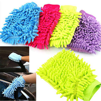 Car Vehicle Microfiber Soft Hand Towel Coral Chenille Washing Cleaning Glove