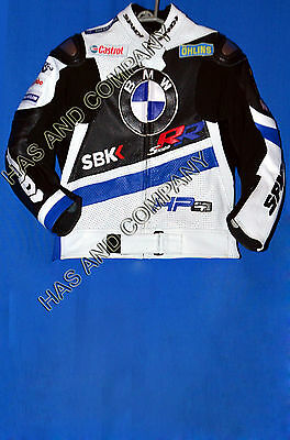 New BMW HP4 S1000 RR Motorcycle Motorbike Leather Race Jacket with all sizes