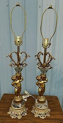 Vintage Pair of Cherub Marble Brass Finish Table Lamps