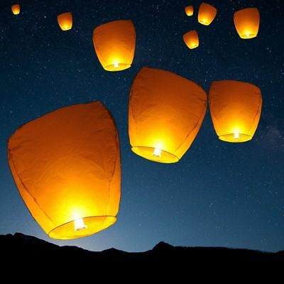 10pcs Sky Lanterns Chinese Paper Sky Fire Candle Wish Wedding Party Lamp White