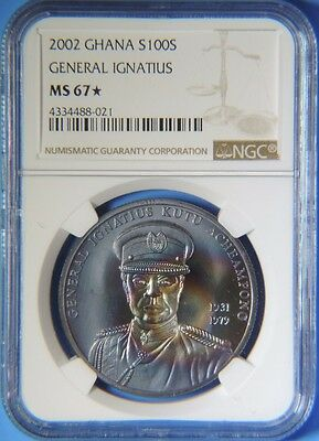 2002 Ghana General Ignatius Silver 100 Sika Coin NGC MS67 Star Monster Toning