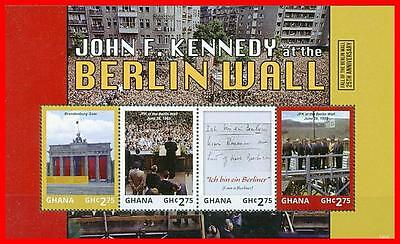 Ghana 2014 BERLIN WALL FALL ANNIV. M/S MNH PRES.KENNEDY, ARCHITECTURE