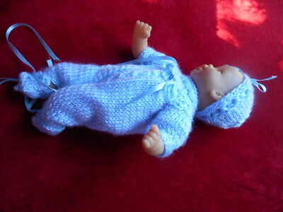 "Doll Clothes Blue Hand knitted 3 pc set for reborn baby boy Berenguer 11"" to 13"""