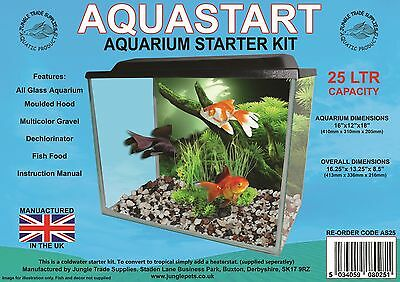 "AquaStart  25Ltr Aquarium Starter Kit 16 x 12 x 8"" with FILTER"