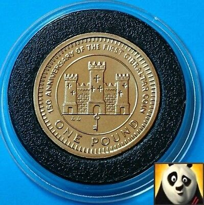 1989 GIBRALTAR £1 One Pound Coin Castle and Key 150th Anniversary of First Coin